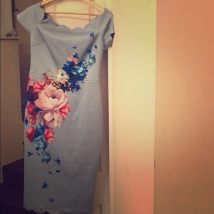 Off-the-shoulder, scalloped Ted Baker Dress, sz 3